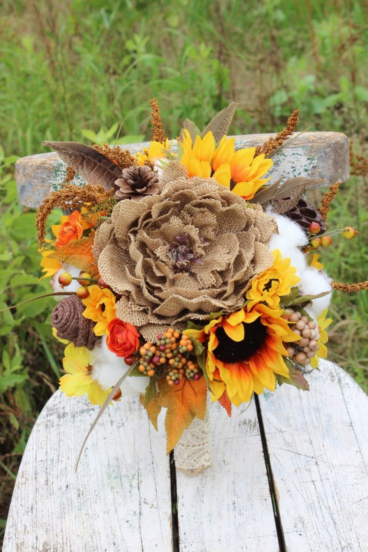 Rustic Fall Wedding Bouquet with Sunflowers, Burlap Flowers, Cotton, Fall Foliage and Berries  - burlap and lace Bridal Bouquet by GypsyFarmGirl on Etsy