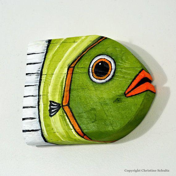 Reclaimed Wood Fish Decor Painted Olive Green Original Folk Art Handmade in Mississippi