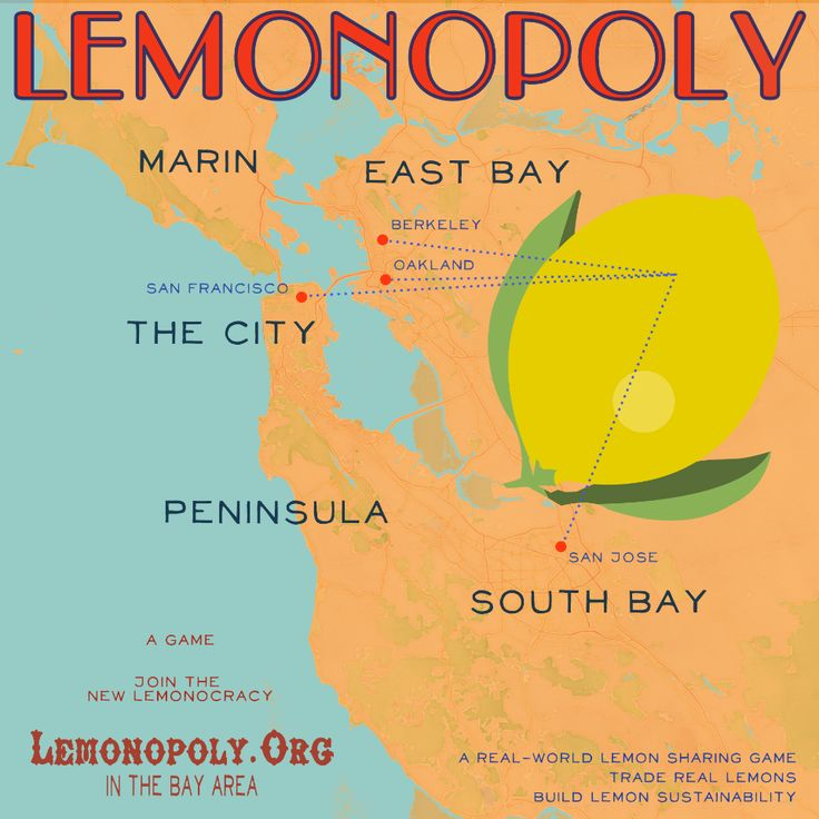 Lemonopoly (2012). Design inspired by Pacific Lemon Fruit Crate Label from 1917. Map detail by Stamen and Open Street Map.