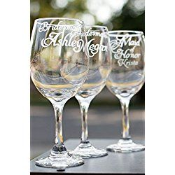 Personalized Bridesmaid Glasses with Names and Wedding Date - Bridesmaid Gifts
