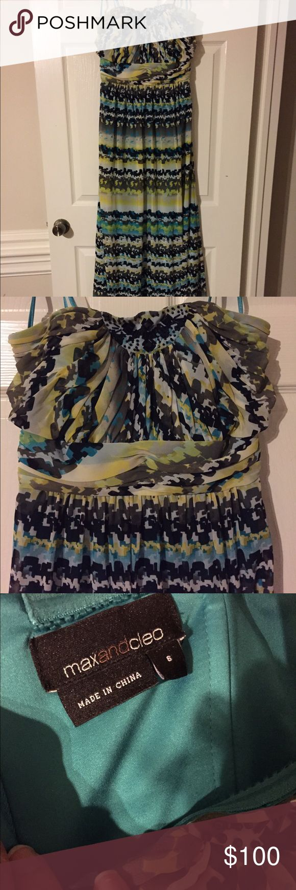 Multi-Colored Formal Dress, Size 6 Turquoise, light green, black and white multi-colored formal dress. Full length. Max and Cleo. Size 6, but runs a bit small. Worn once to a sorority formal. Max & Cleo Dresses Strapless