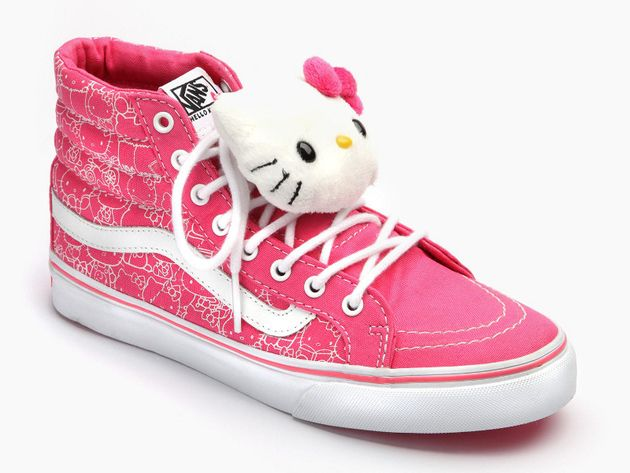 Cuteness overload! Hello Kitty Vans Sk8 Hi Sneakers $70