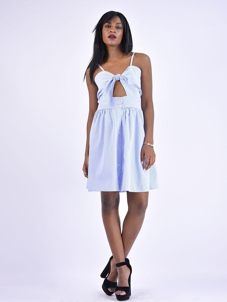 F9833 Φόρεμα Ριγέ σε Α Γραμμή με Ανοιγμα κάτω από το Μπούστο - Decoro - Γυναικεία ρούχα, ανδρικά ρούχα, παπούτσια