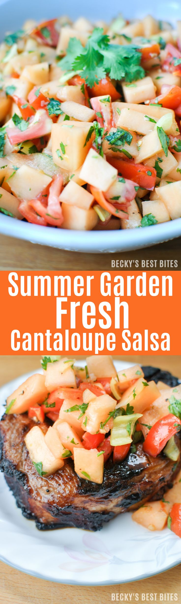 Summer Garden Fresh Cantaloupe Salsa is a healthy & unique version of the mexican appetizer dip. Sweet and savory flavors from cantaloupe, tomatoes, peppers, lime, garlic and cilantro come together for a winning combo!   beckysbestbites.com