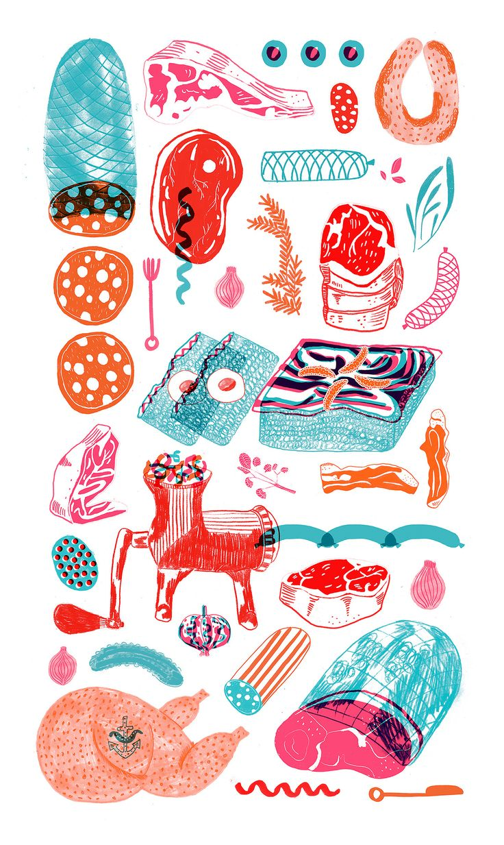 meat, tea towel, colour, print, design, layers, texture, illustration, food, drawing, pattern, camilla perkins