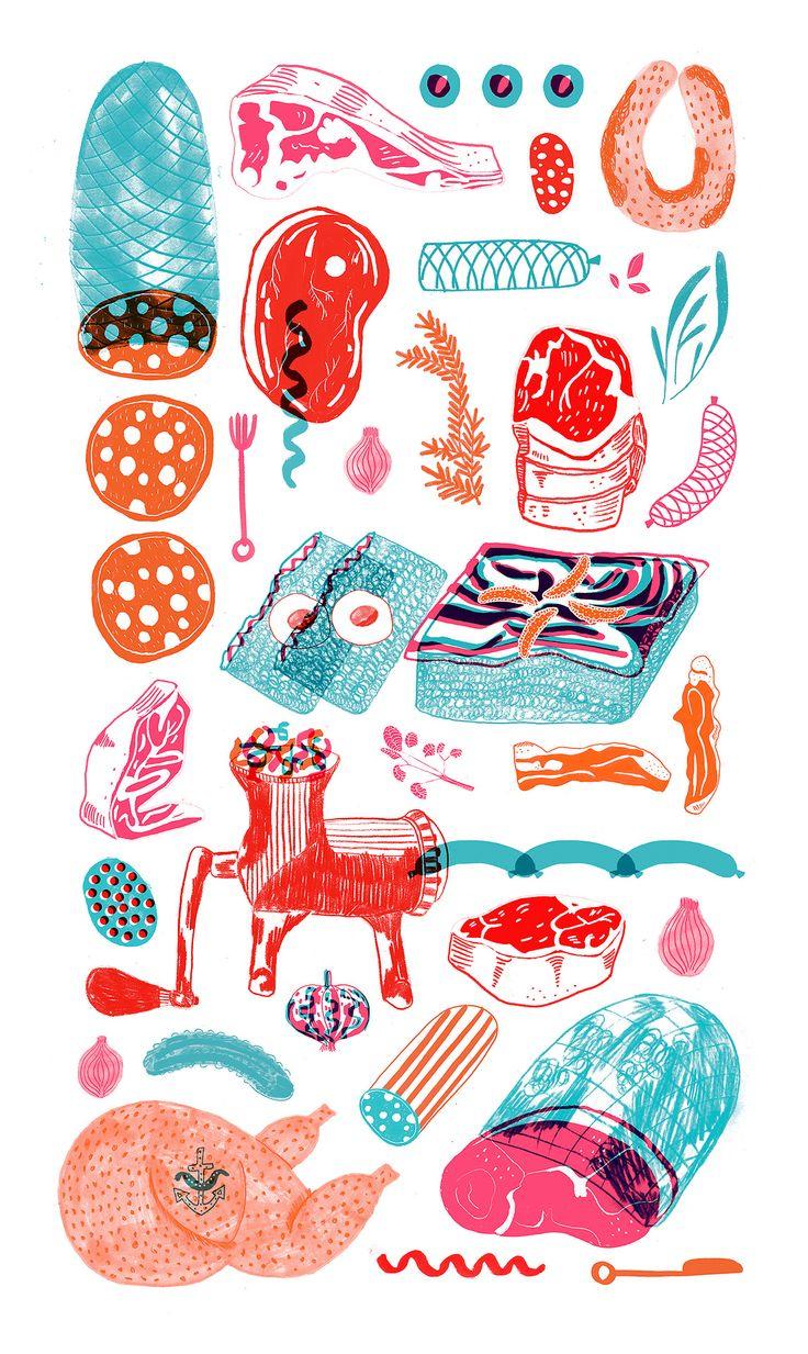 meat, tea towel, colour, print, design, layers, texture, illustration, food, drawing, pattern, camilla perkins