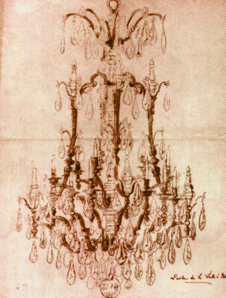 ORIGINAL DRAWING for a Large and Impressive Gilt-Bronze & Cut-Glass 15-Light Chandelier. French, Early 19th Century. Designed by George Hoentschel in partnership with Mewes & Davis.  Height: 80 Inches, Diameter: 42 Inches. Approximate Value: $100,000. See executed piece elsewhere on this board, including a large detail.