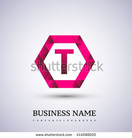 T Letter logo icon design template elements on red hexagonal. - stock vector