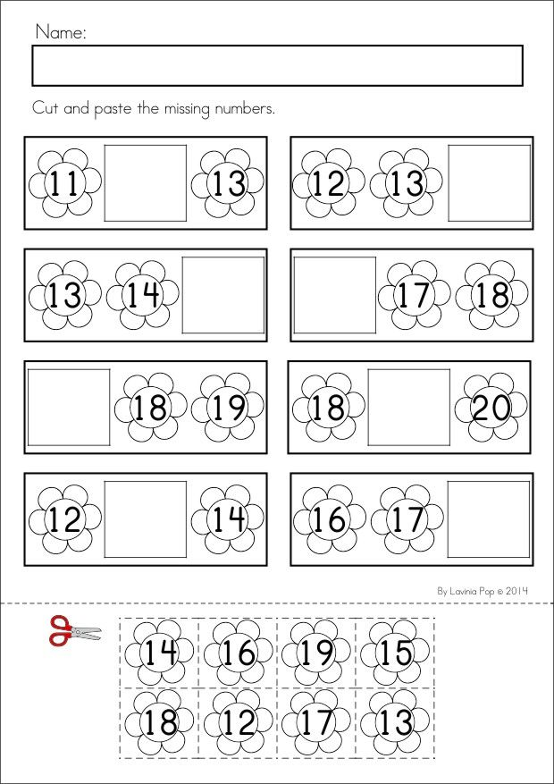Kindergarten SPRING Math & Literacy unit. 93 pages in total. A page from the unit: Cut and paste the missing numbers