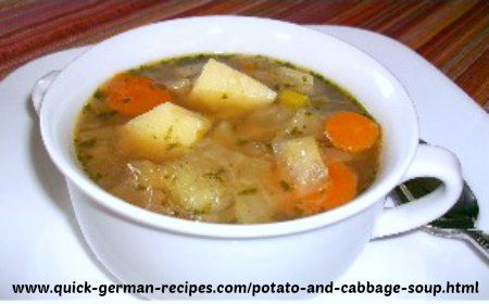 German Potato and Cabbage Soup http://www.quick-german-recipes.com/potato-and-cabbage-soup.html