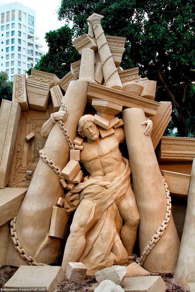 Sand Sculpture In Tel Aviv, Israel  I love the story of Samson and Delilah