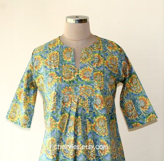Green and Blue flower  tunic dress by chezvies on Etsy, $26.00