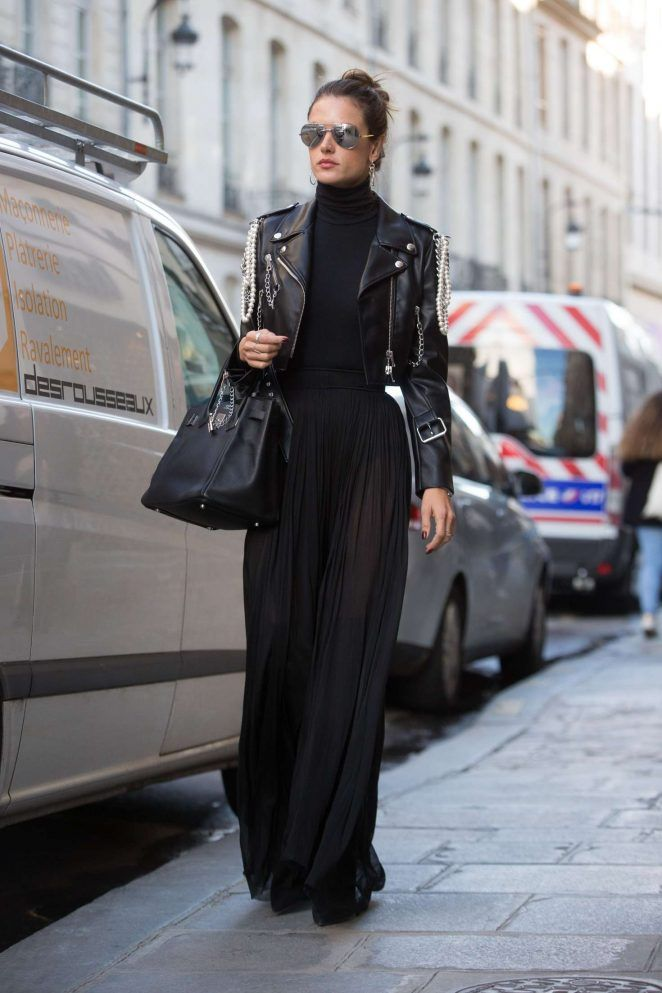 Splurge: Alessandra Ambrosio's Paris $2,195 Moschino Chain and Pearl Biker Jacket, $250 Wolford Black Colorado Turtleneck Bodysuit, and $1,147 Le Silla Black Stretch Suede Over The Knee Boots