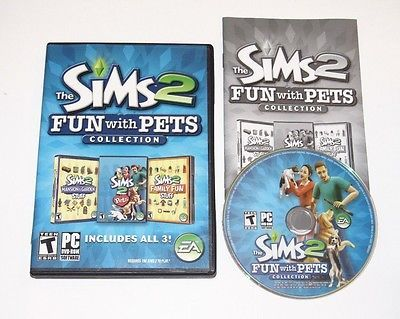 The Sims 2 Fun With Pets Collection PC Game 2010 Complete Mansion & Garden Rare
