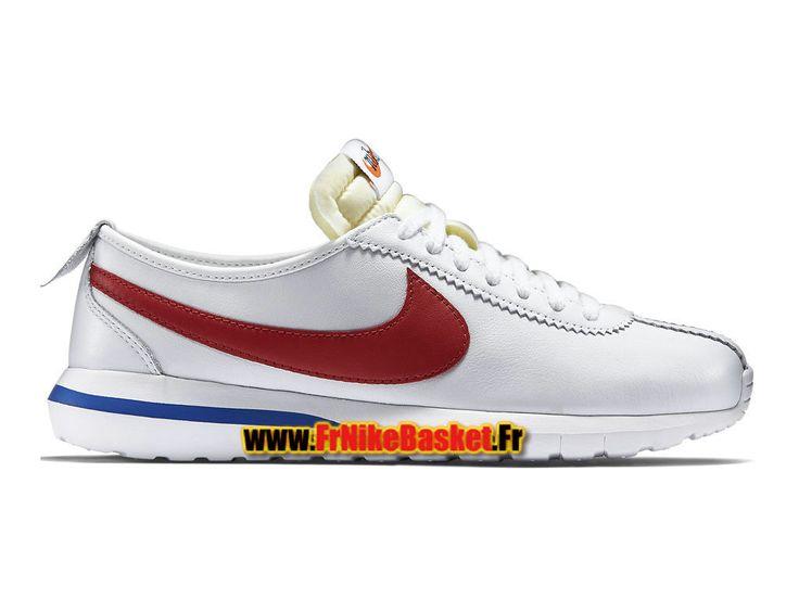 Nike Roshe One Cortez (GS) - Chaussures Nike Sportswear Pas Cher Pour  Femme/Enfant Blanc/Rouge intense/Bleu électrique