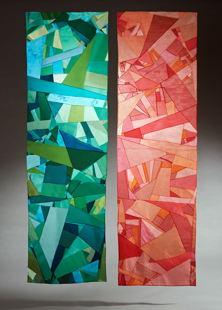 Passion, Bojagi construction, silk organza, 69 x 20 in. each by Ji Yeon Hwang, as part of Tradition Unwrapped: Korean Bojagi and Joomchi Now at ArtXchange Gallery