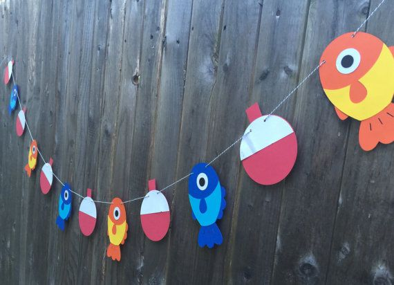Fish and Bobber Garland Banner  Nautical Party Birthday