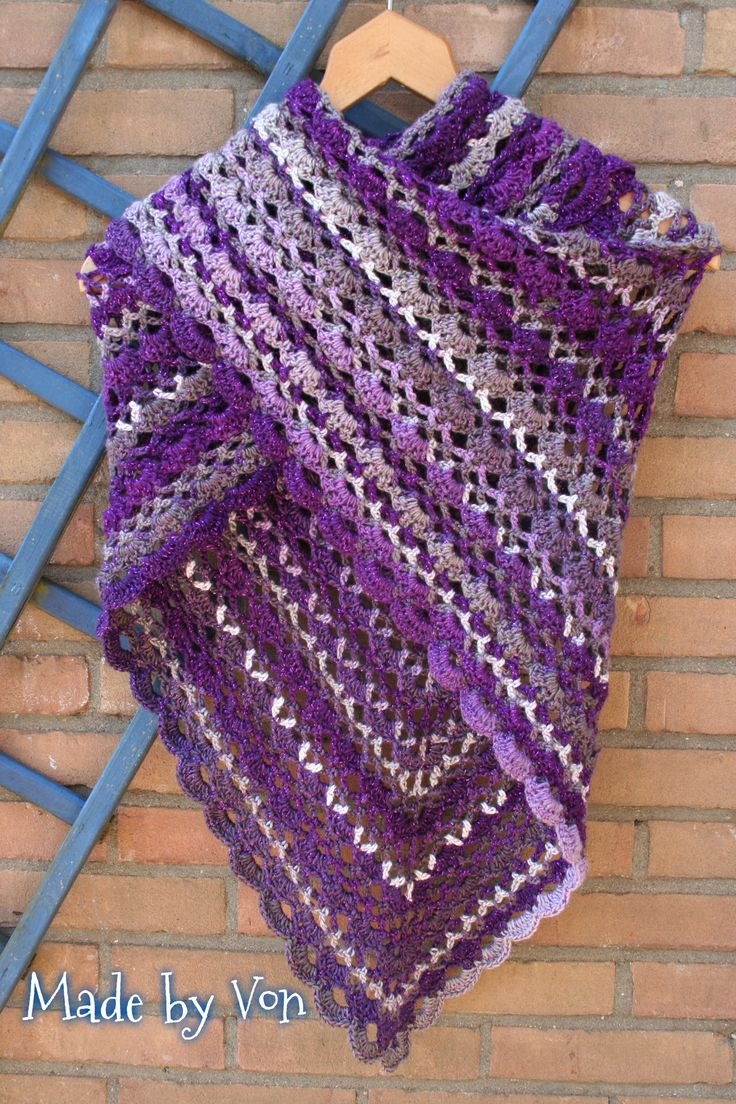 """It's a Sunny Day Shawl"". Made with Stylecraft Cabaret Purple Haze."
