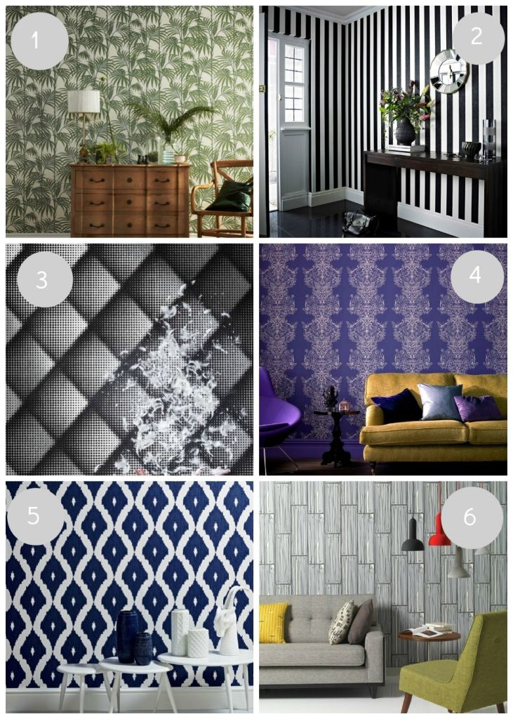 Make a statement wall with these bold and inspiring designer wallpapers, including monochrome, Ikat and wood panelling ideas.