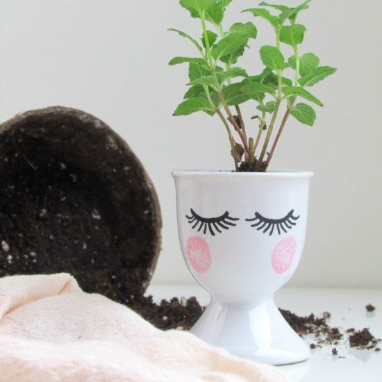 Start your herbs for summer now with these artful egg cup seedling starters. A great gift idea!