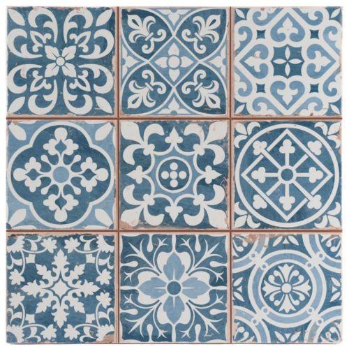 Victorian Tangier Blue Decor Wall & Floor Tile 33x33cm (Per Tile) in Home, Furniture & DIY, DIY Materials, Flooring & Tiles   eBay