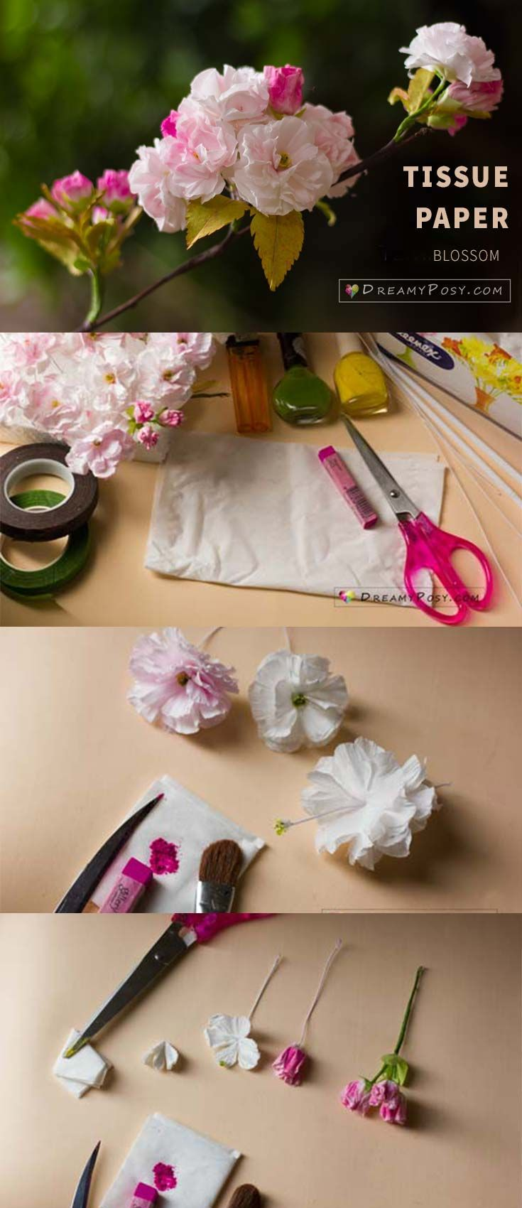 How To Make Paper Cherry Blossom From Facial Tissue So Easy