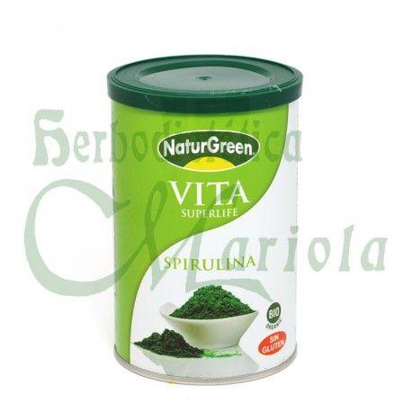 NaturGreen, Espirulina Bio en Polvo Vita Superlife, una fuente de minerales potasio, de calcio, zinc, magnesio, manganeso, selenio, hierro y fósforo. Vitamina B y E