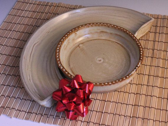 Pottery Brie Baker and Cracker tray  rustic by NewDayPottery