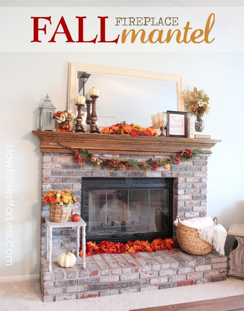 fall fireplace mantel makeover