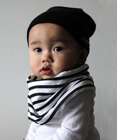 Just bought this for the little nugget!  Black & White Stripe Scarf/Bib by Scabib #zulily #zulilyfinds