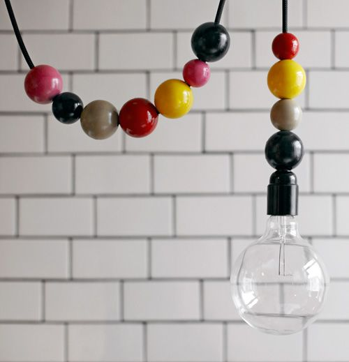 I love this!! I've been scouting around, looking for ways to hang cute swag lamps in the boys' rooms without the ugly chain. Yea!