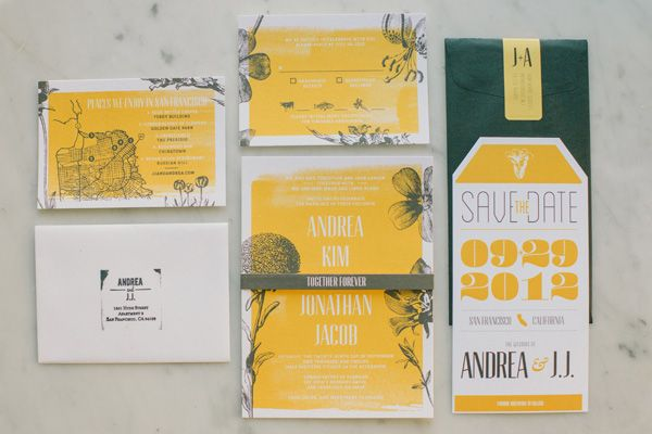 awesome graphics on the invites. yellow and gray wedding.  source: Molli Hummel onto all dressed in white