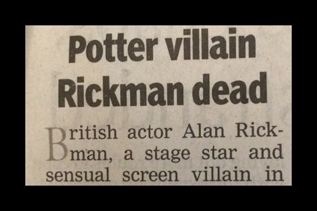 "Times Of India Called Alan Rickman The Villain Of The ""Harry Potter"" Series In His Obituary"