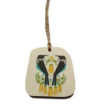 New Zealand Two Tuis in a Kowhai Wooden Gift Tag By Holly Roach
