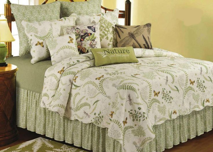 Nature Butterfly Ivory Green Fern Cotton Quilt Bedding