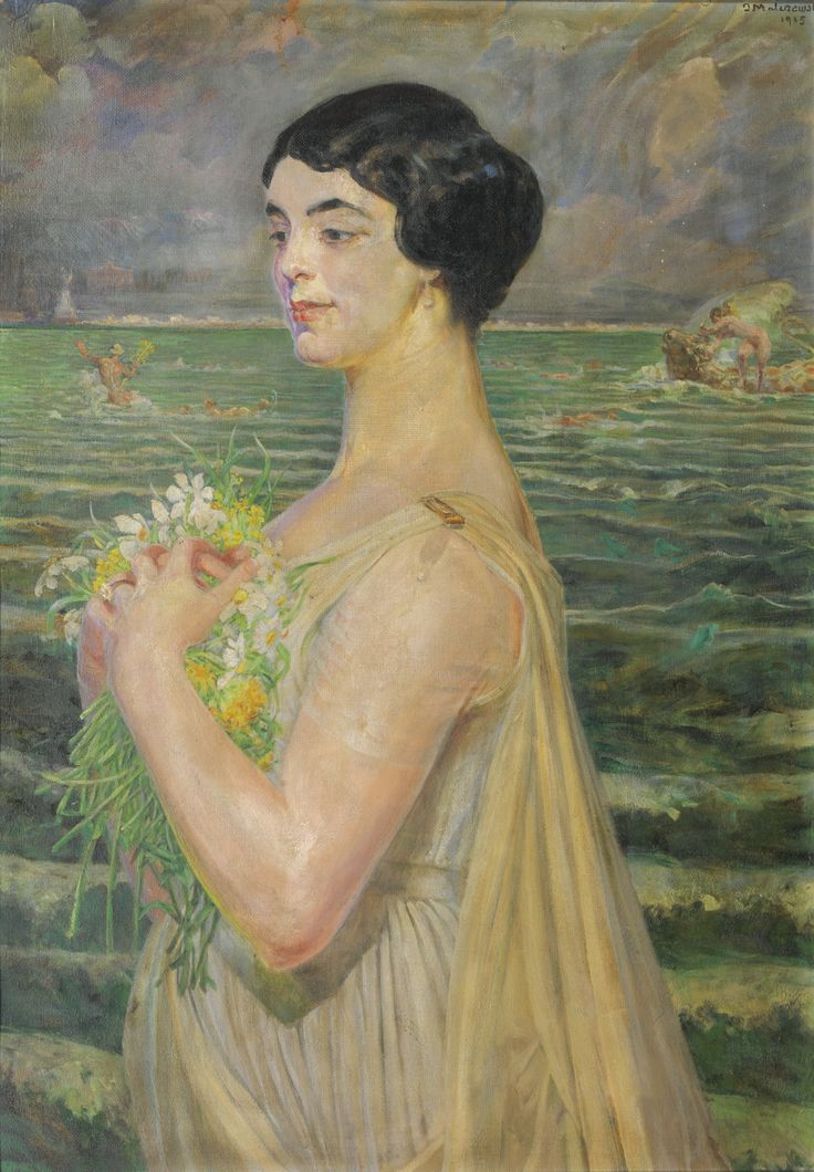 Jacek Malczewski (1854-1929) WOMAN BY THE SEA signed and dated J Malczewski / 1915 upper right, oil on canvasboard 102 by 72cm., 40¼ by 28¼in.