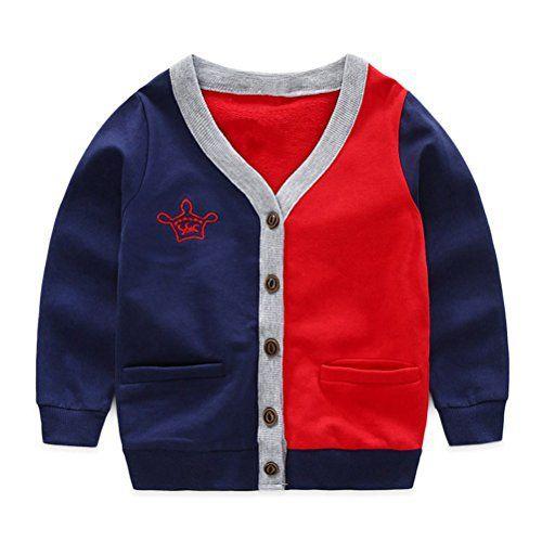 62edbfe27b34 Product review for UWESPRING Kids Boy Fashion Patchwork V-neck ...