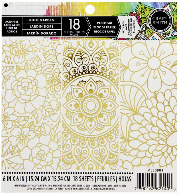 Craft Smith Paper Pad 6x6 - Gold Garden