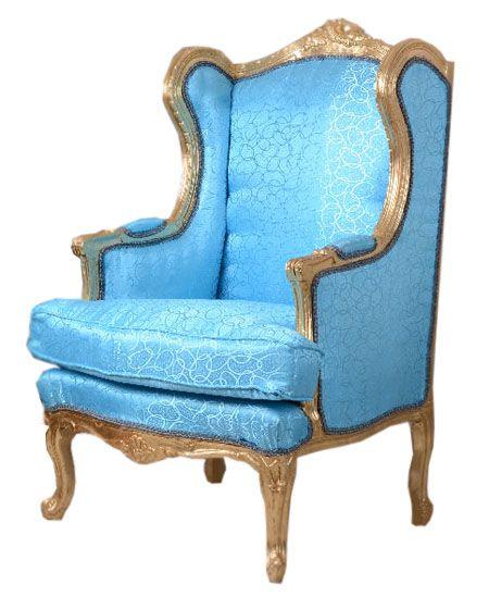 Niezwykły fotel w stylu barokowym pokryty tkaniną...