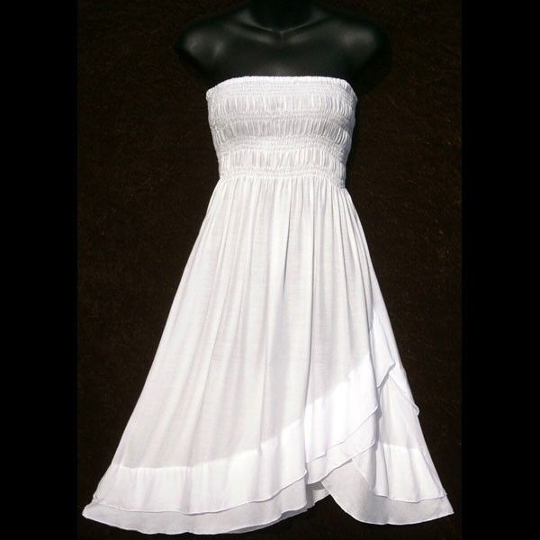 Plus Size White Sundress | wholesale_white_strapless_elastic_bodice_ruffled_hem_sun_dress_skirt ...