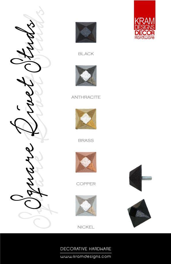 Square Rivet Studs available in 5 colours from Kram Designs Decor Hardware. www.kramdesigns.c...