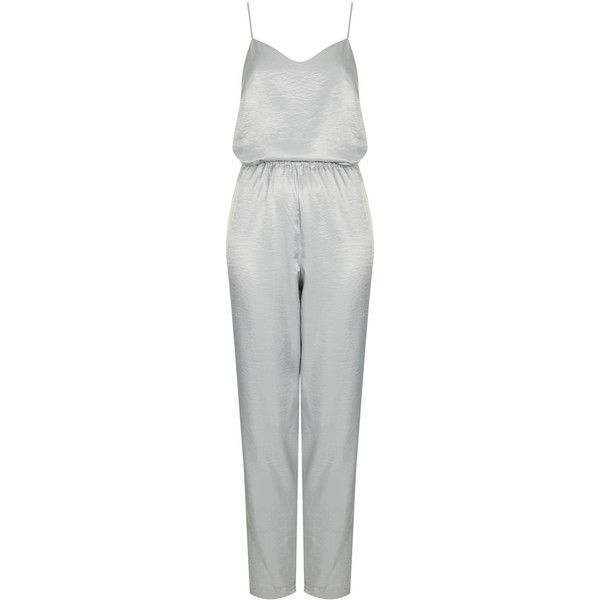 TOPSHOP Slinky Strappy V Jumpsuit (€56) ❤ liked on Polyvore featuring jumpsuits, jumpsuit, perrie, dresses, playsuits, rompers, silver, jumpsuits & rompers, playsuit romper and topshop romper