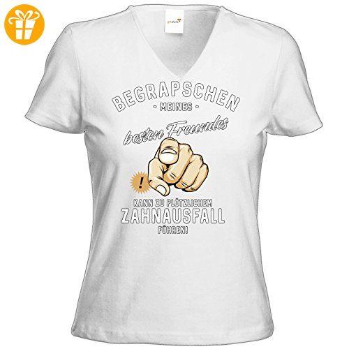 getshirts - RAHMENLOS® Geschenke - T-Shirt Damen V-Neck - Begrapschen meines besten Freundes - Zahnausfall - weiss L (*Partner-Link)