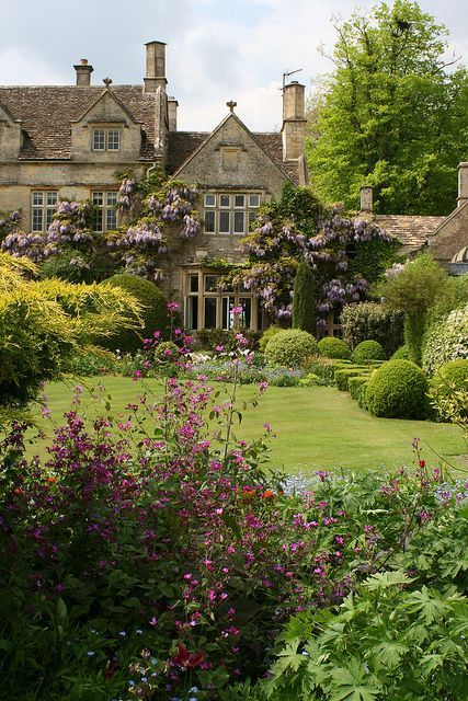 Gorgeous cottage garden with manicured lawn, verdant edgings, climbing wild rose bushes and wisteria vines on the home's exterior walls.
