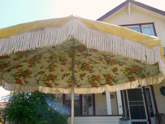 Vintage Umbrella For Patio Table Heavy Vinyl Fringe Huge