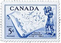 David Thompson - A 1957 Canadian five cent postage stamp issued 100 years after his death in 1857 commemorates his life and achievements.