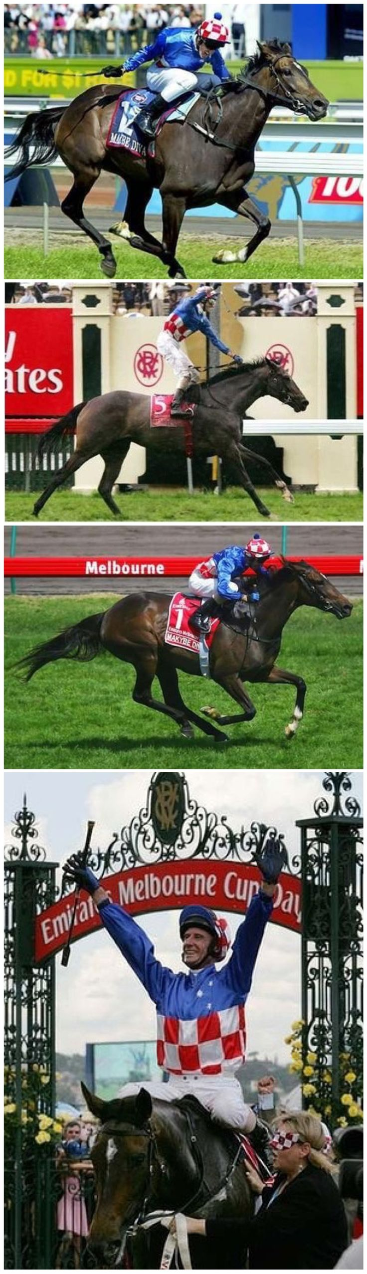 Makybe Diva, winning her three consecutive Melbourne Cups 2003-2005, ridden by Glenn Boss. Bottom: Returning to scale after the 2005 win.