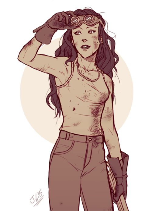 "jayylart: "" Closeup of a grease monkey Asami sketch commission for karatam. I find more feminine characters harder to draw especially when they're so casual yet still so hot ugh. You can see full view here and commish info can be found here ∠( ᐛ..."