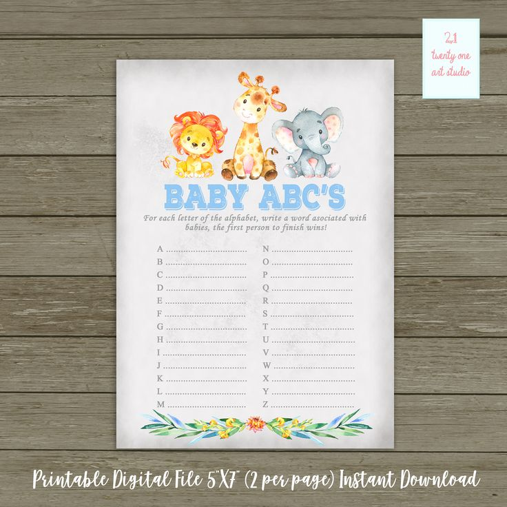 Jungle Safari Baby ABC's Baby Shower Game, Animal Zoo Baby Shower Game, Boy Baby Shower, Printable Game, Digital File INSTANT Download