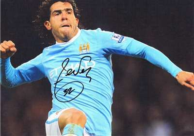 Carlos Tevez autographed photograph for sale. $235 (GBP 150) at Paul Fraser Collectibles. #tevez #football #soccer #autographs #mancity